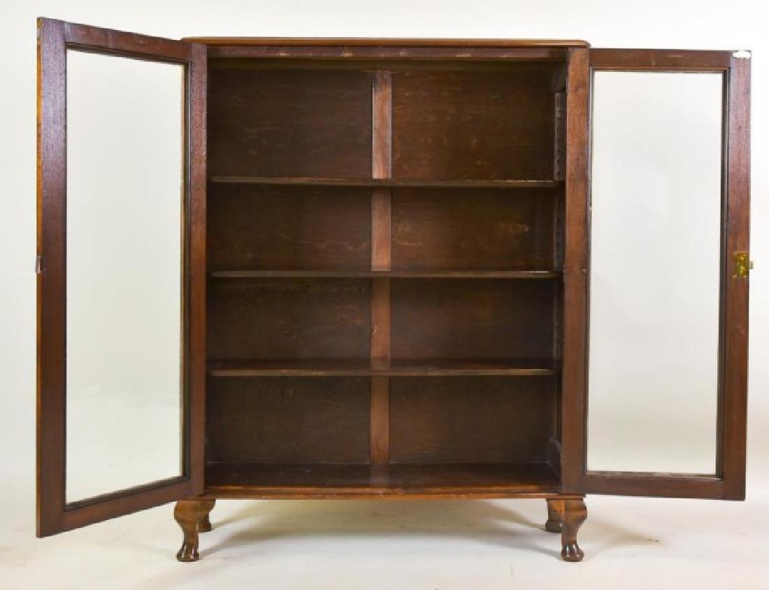 Walnut Two-Door Bookcase - 2