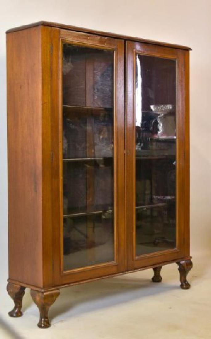 Walnut Two-Door Bookcase - 3