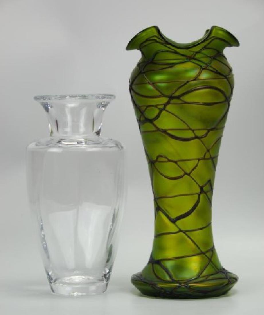 2 Glass Vases--Loetz Style and Simon Pearce