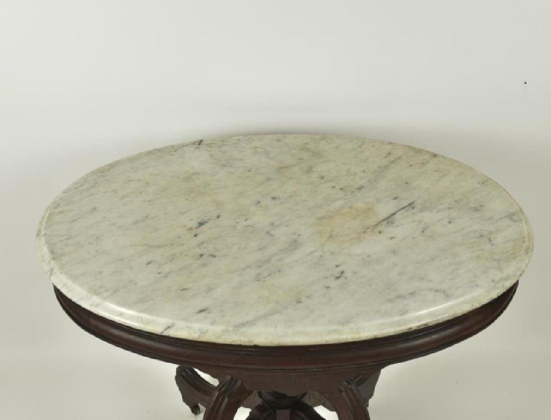 Victorian Walnut Marble Top Table - 2
