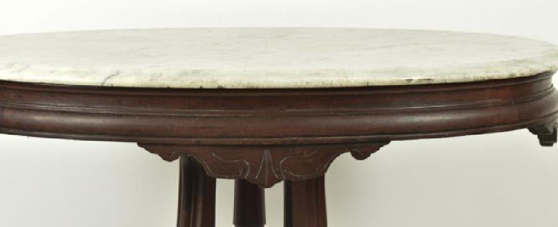 Victorian Walnut Marble Top Table - 4