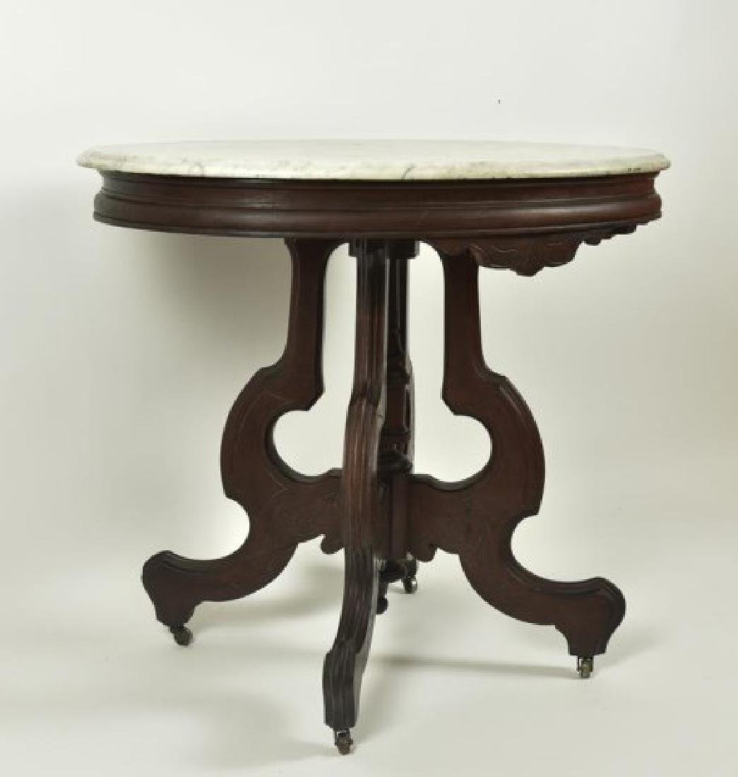 Victorian Walnut Marble Top Table - 6