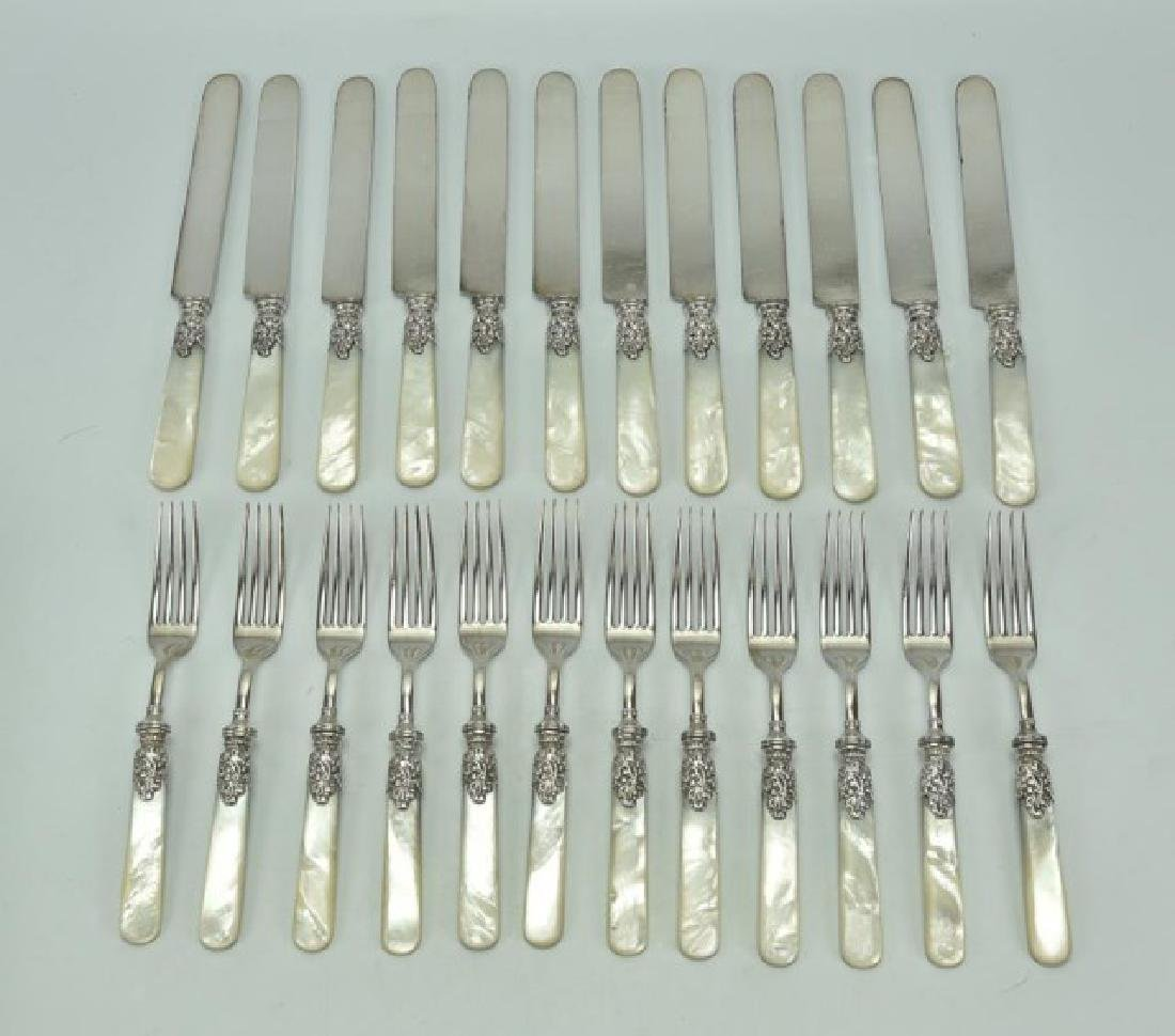 Service for 12 Sterling & Mother of Pearl Flatware