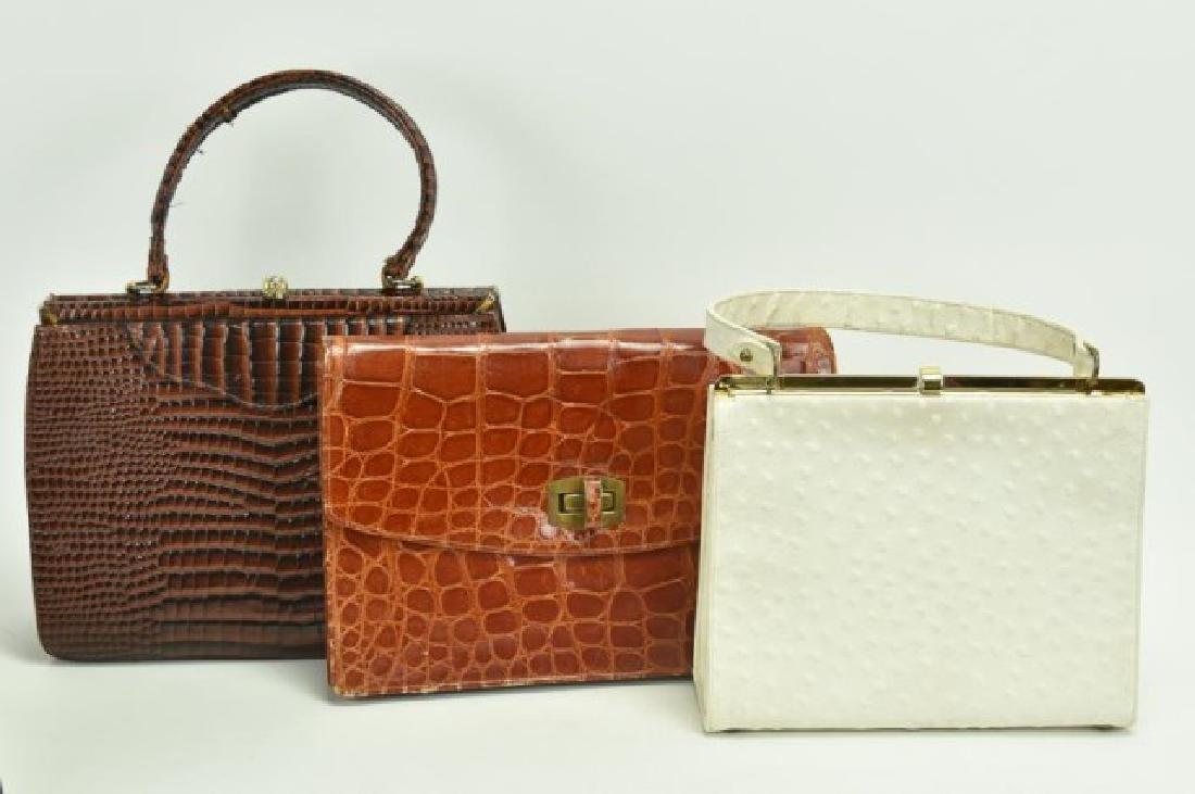 9 Crocodile Purses, Gemstone Handles - 2