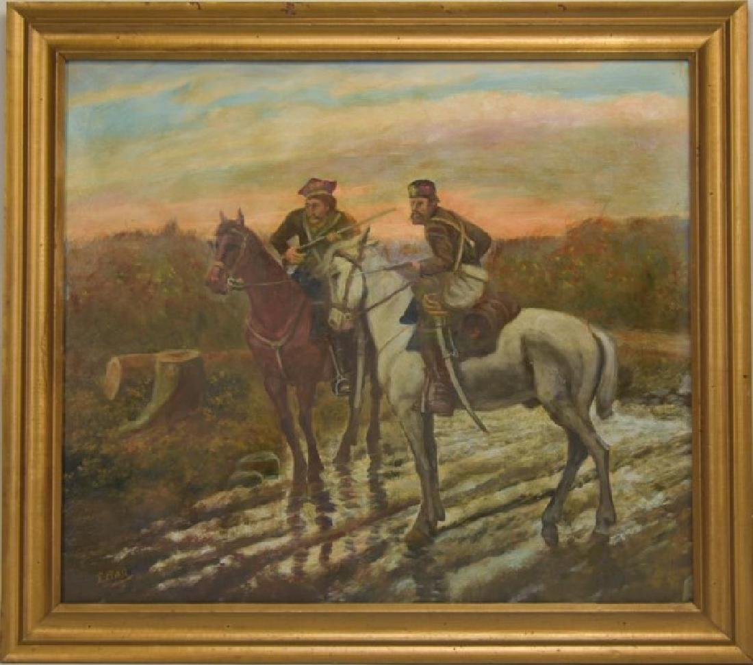 Signed Painting, Russian Soldiers on Horseback
