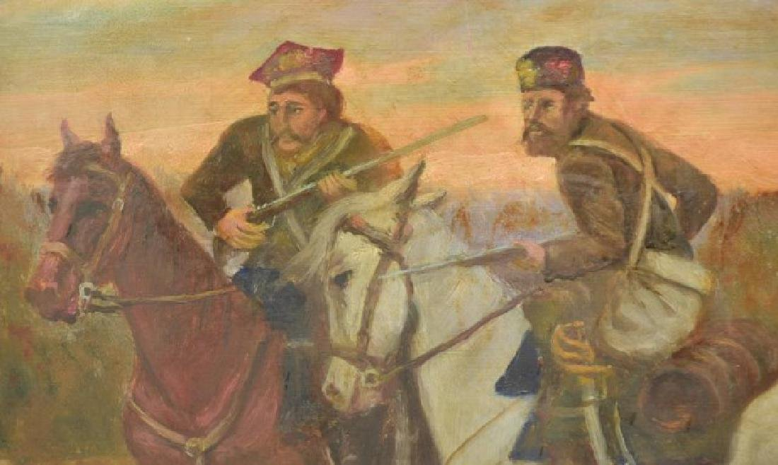 Signed Painting, Russian Soldiers on Horseback - 3