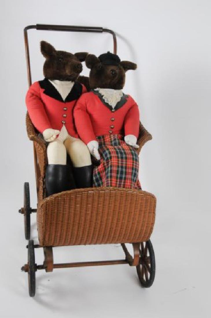 Early Baby Carriage & Pr. Fox Hunting Dolls