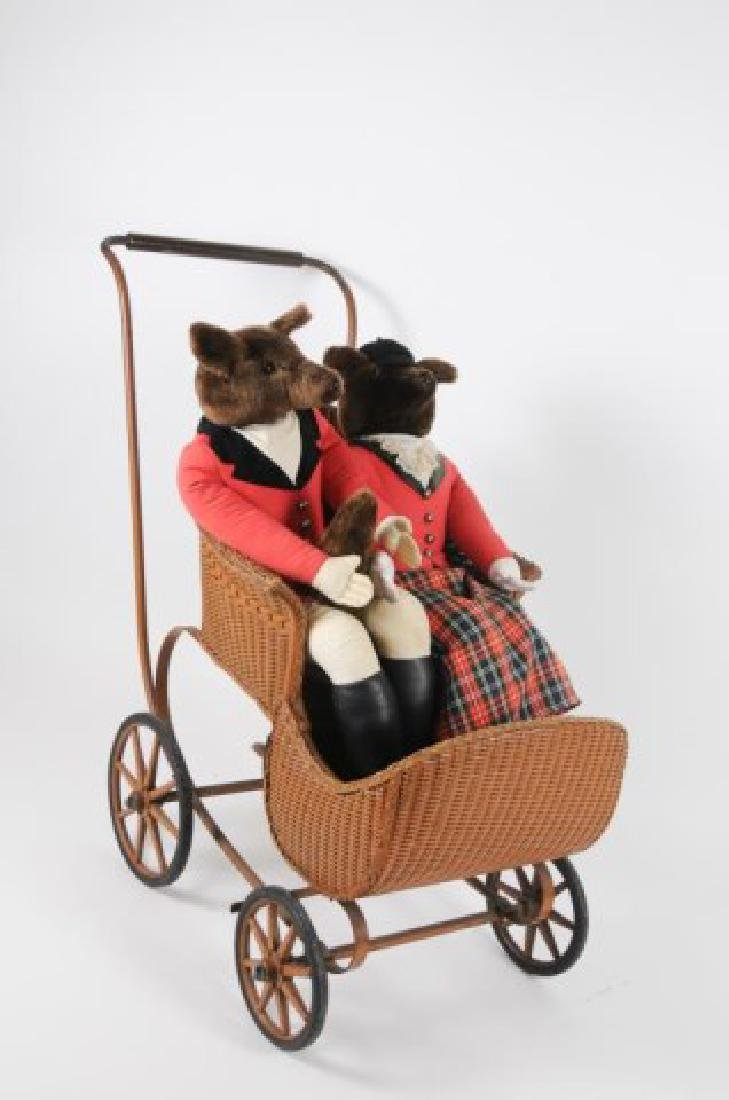 Early Baby Carriage & Pr. Fox Hunting Dolls - 2