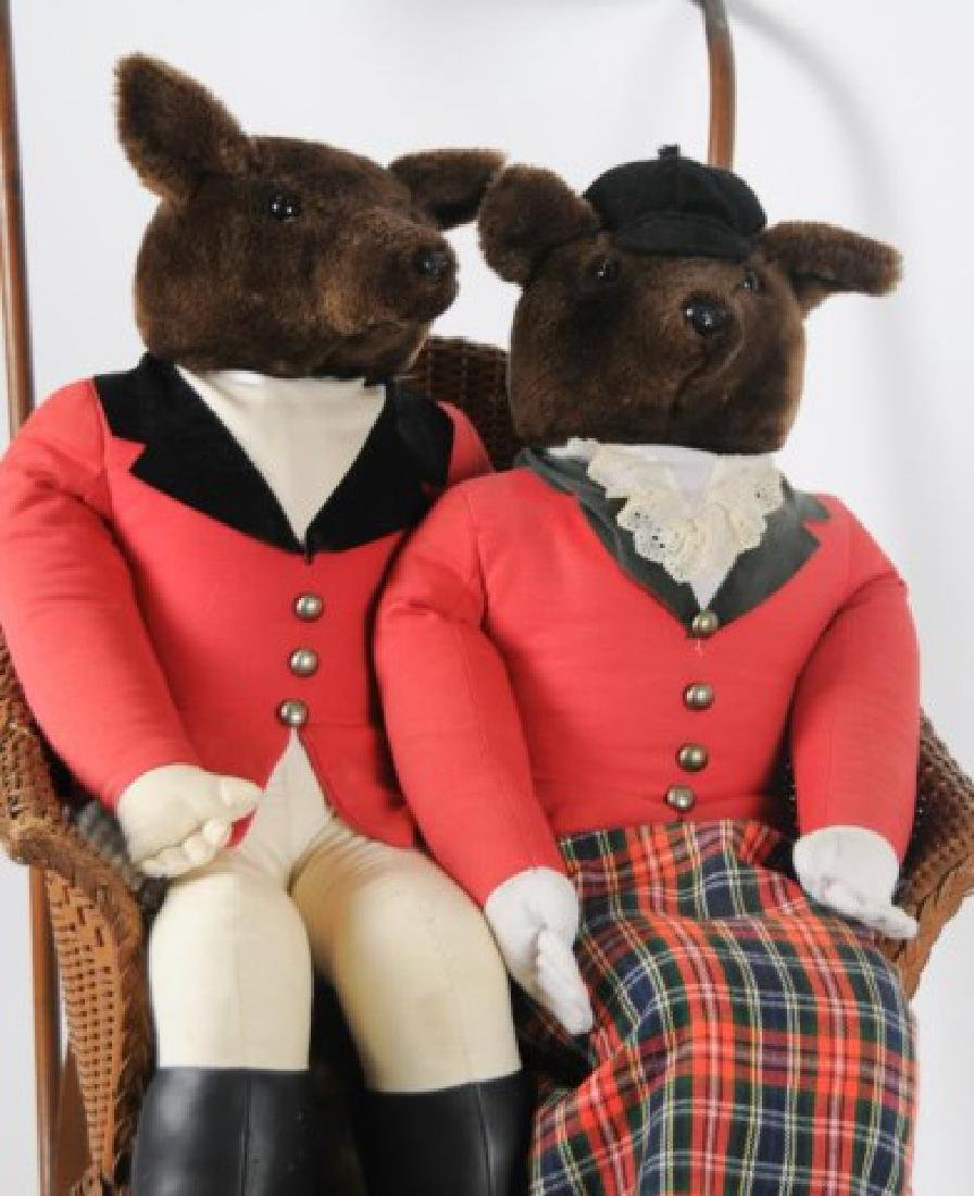 Early Baby Carriage & Pr. Fox Hunting Dolls - 3