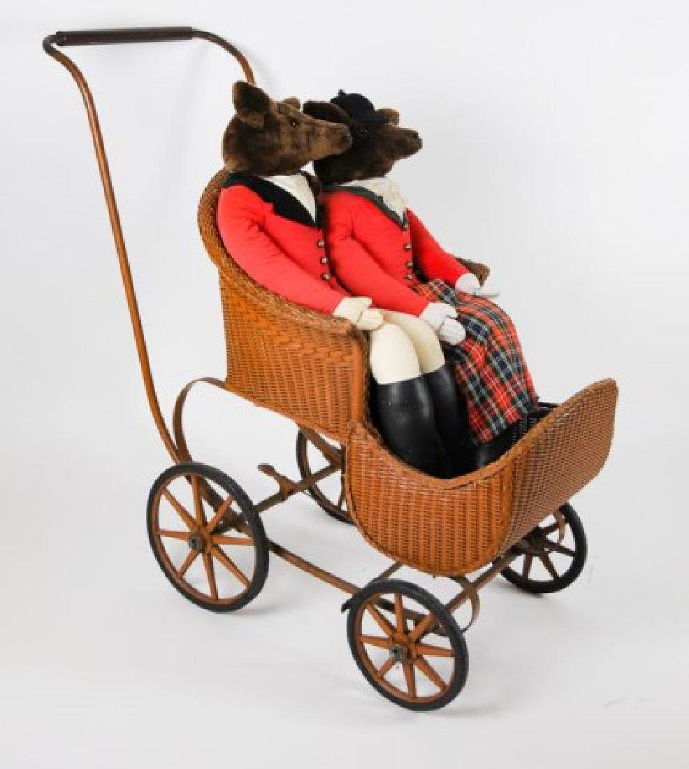 Early Baby Carriage & Pr. Fox Hunting Dolls - 4