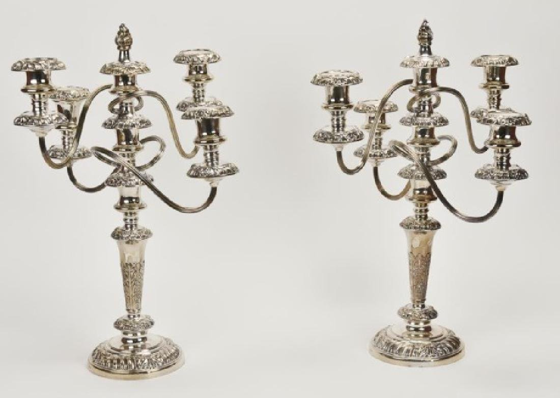 Pair of English Silver Plate Five-Light Candelabra