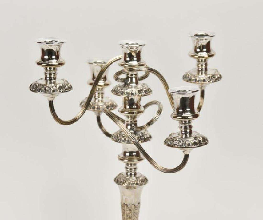 Pair of English Silver Plate Five-Light Candelabra - 7