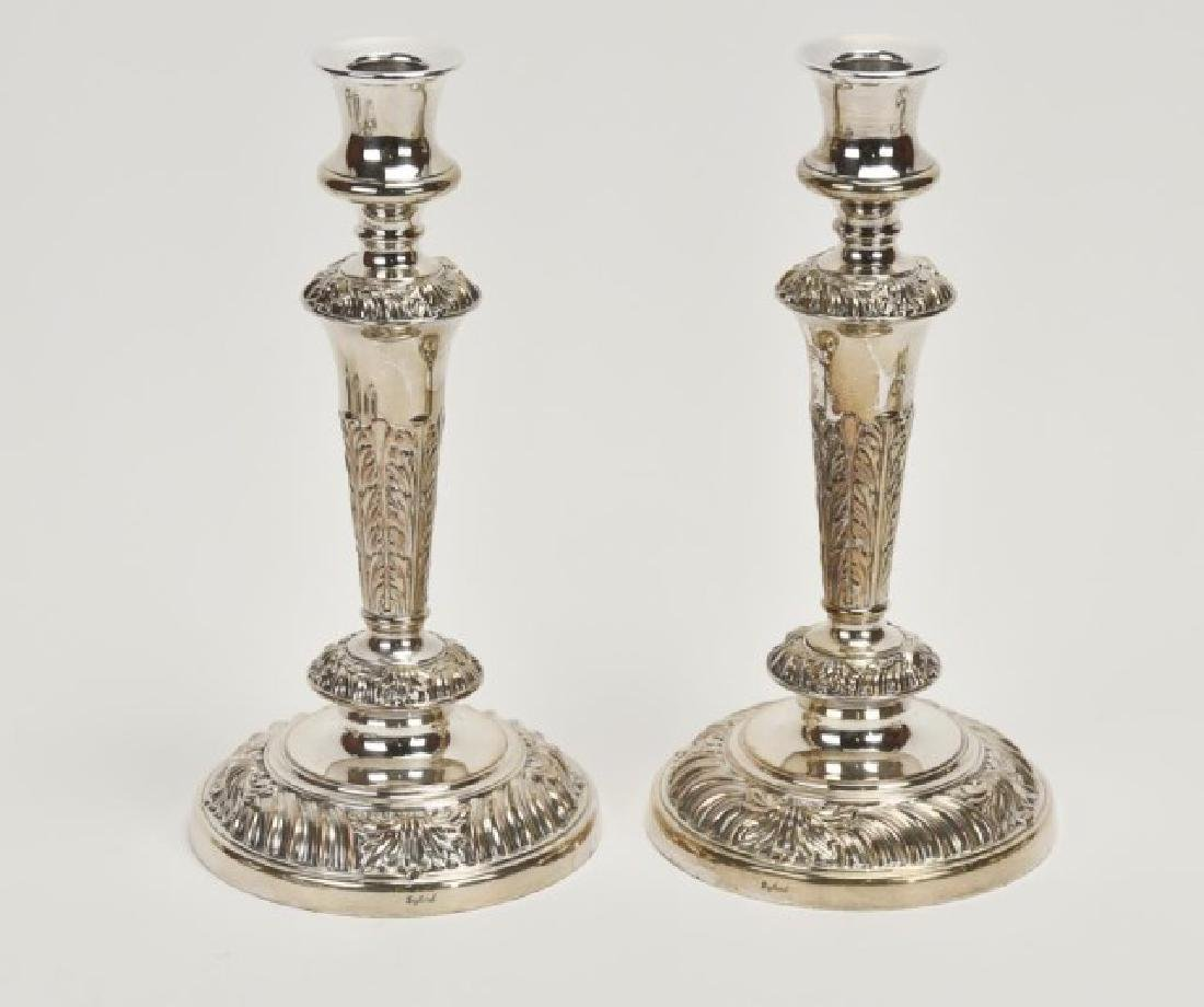 Pair of English Silver Plate Five-Light Candelabra - 9