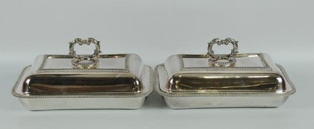 Pair Silver Plate Entree Dishes