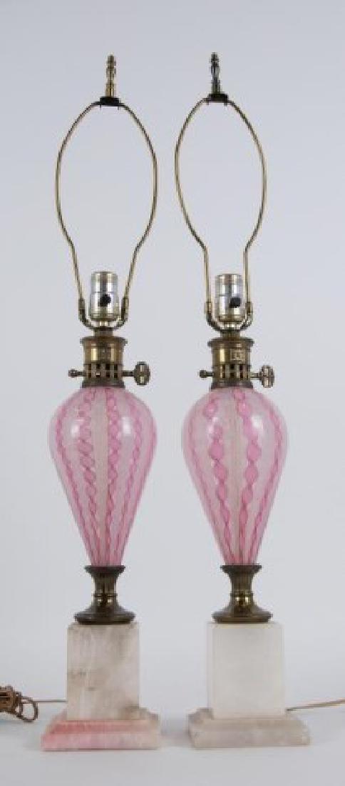 Pr. Mid Century Italian Art Glass Latticino Lamps