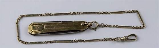 14k Gold Pocket Watch Chain  10k Knife Fob