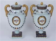 Pr. Mottahedeh Lowestoft Federal Eagle Urns