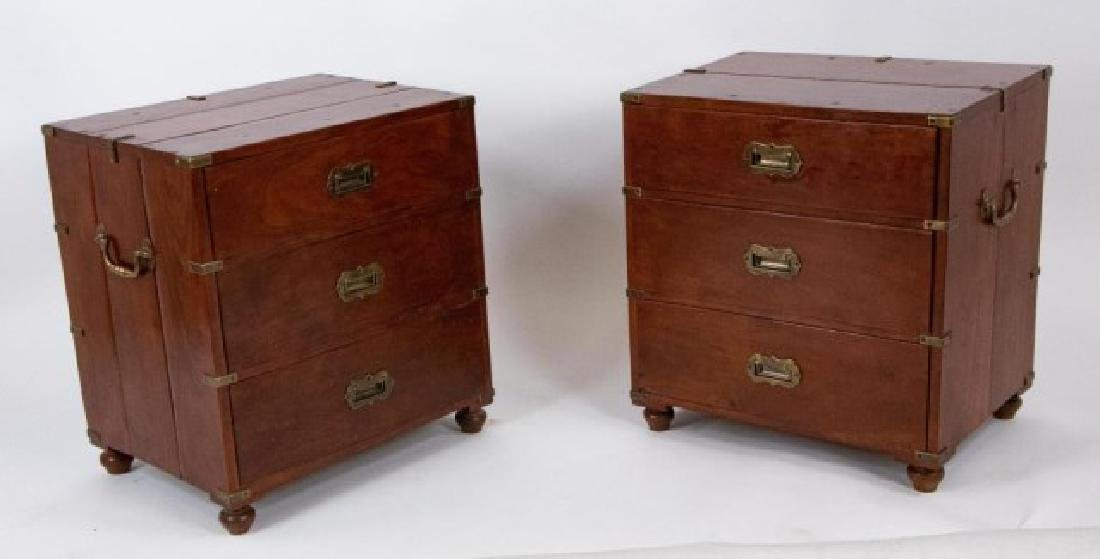 Pair Campaign Style Chests of Drawers