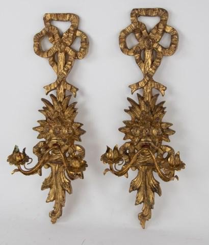 Pair of Italian Carved Gilt Wood Wall Sconces