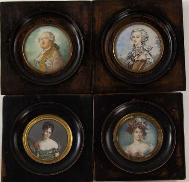Four Continental Miniature Portraits