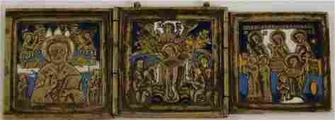19th C Russian Enameled Brass Triptych Icon