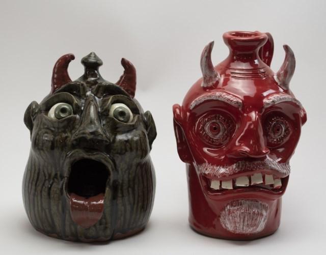 Two Georgia Stoneware Devil Jugs