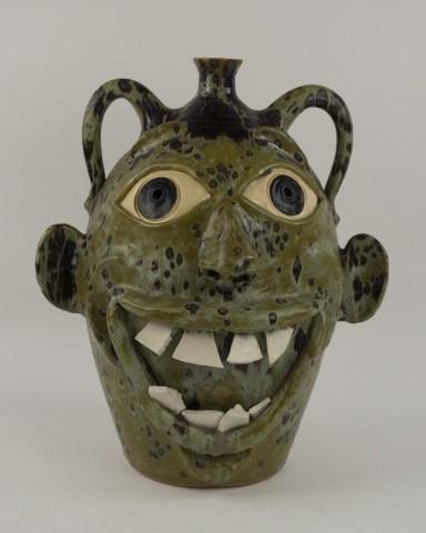 Large Todd Hewell Stoneware Face Jug
