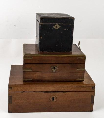 19th C. Papier Mache Tea Caddy & Two Boxes