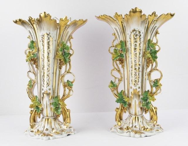 Pr. Large Old Paris Porcelain Vases