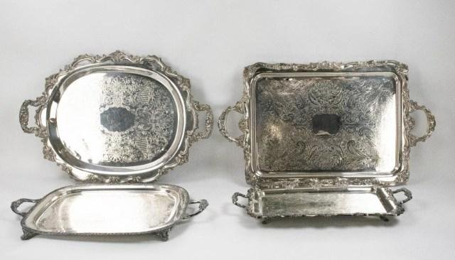 4 Large Silver on Copper & Silver Plate Trays