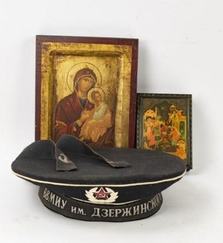 3 Russian Items--Sailor's Cap, Box, Icon