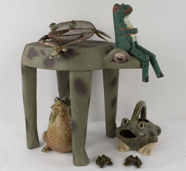 7 Pottery, Wood, Metal Frog Figures