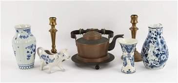 Skultuna Tea Kettle, Candlesticks; 4 Pcs. Delft