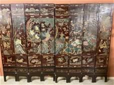 Chinese 8-Panel Coromandel Lacquer Floor Screen