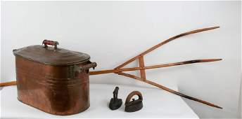 Early Wood Pitch Fork, Copper Boiler, Sad Irons