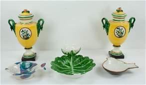Pr. of Italian Ceramic Urns & Three Bowls
