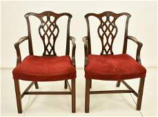Pr. of Chippendale Style Mahogany Armchairs