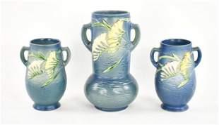 Three Roseville Blue Freesia Art Pottery