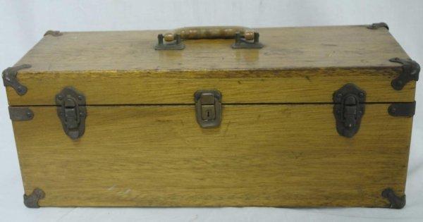 1: Vintage Oak Fishing Tackle Box w/ Lures Vintage oak