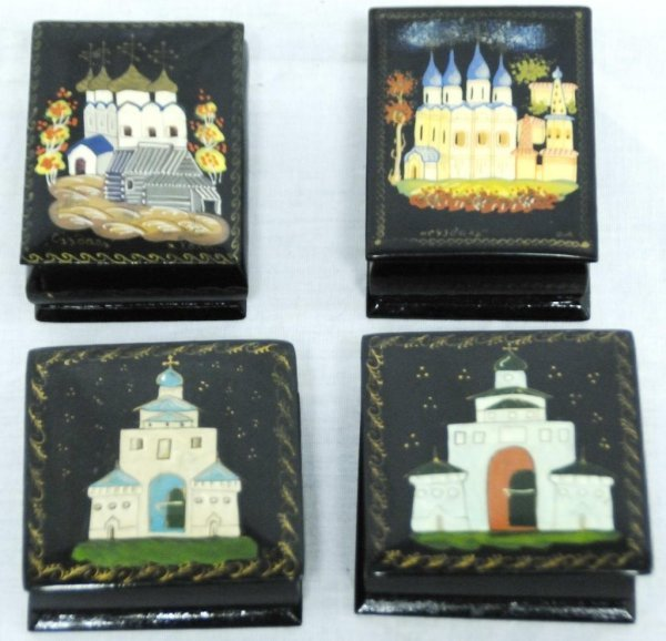 8A: Group of Four Russian Lacquered Boxes Group of four