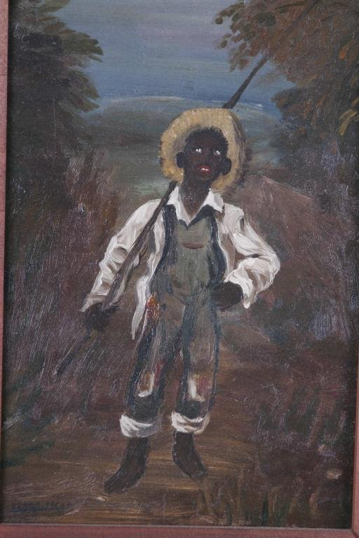 10: Oil Painting of Black Boy w/ Fishing Pole Oil on ar