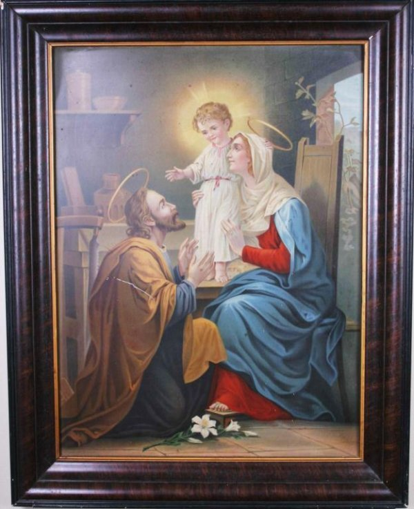 11: Chromolithograph on Metal of Holy Family Chromolith