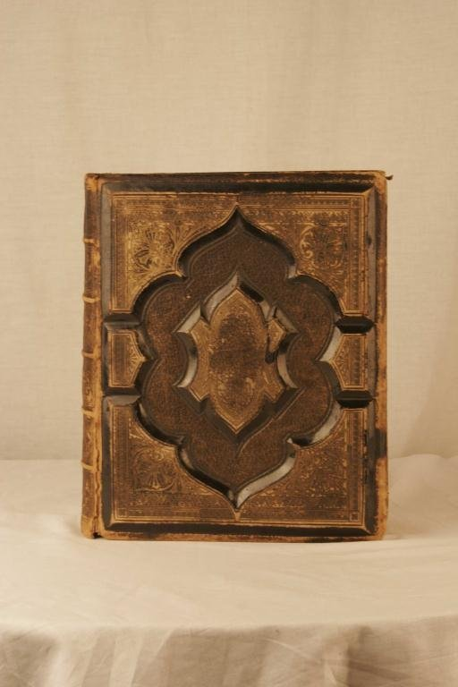12: 1878 Leather Bound Gilt Embossed Bible Illustrated