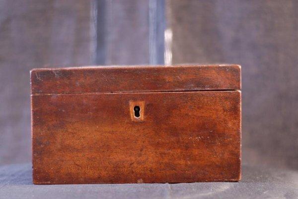 13: Mahogany Veneer Tea Caddy 19th C. mahogany veneer t