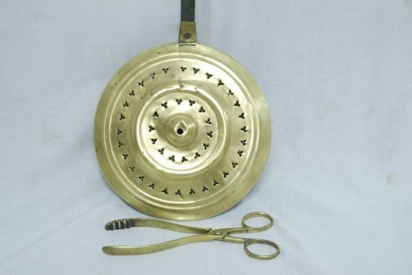 21: Brass Bed Warmer/Brass Tongs Lot of two brass items