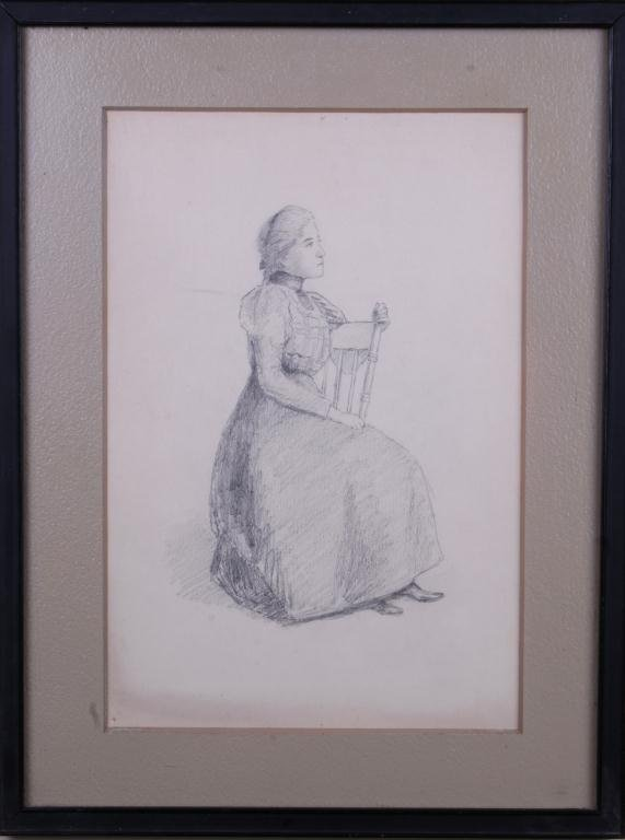 22: Pencil Drawing of Young Lady in Chair Pencil drawin