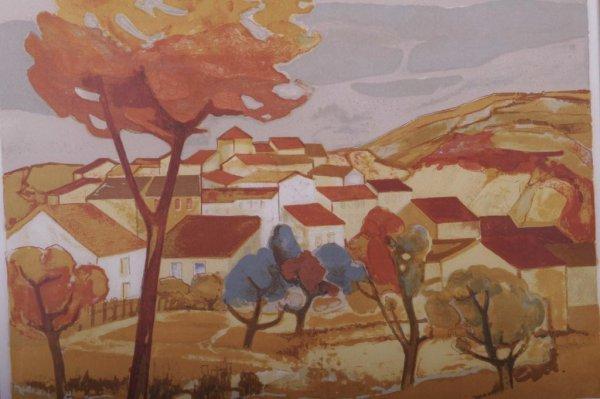 23: Signed Eliane Thiollier Lithograph Village scene li