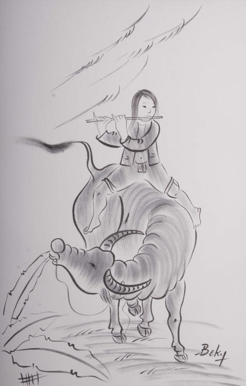 128: Pr. BeKy Ink on Silk Drawings Pair of bold black i