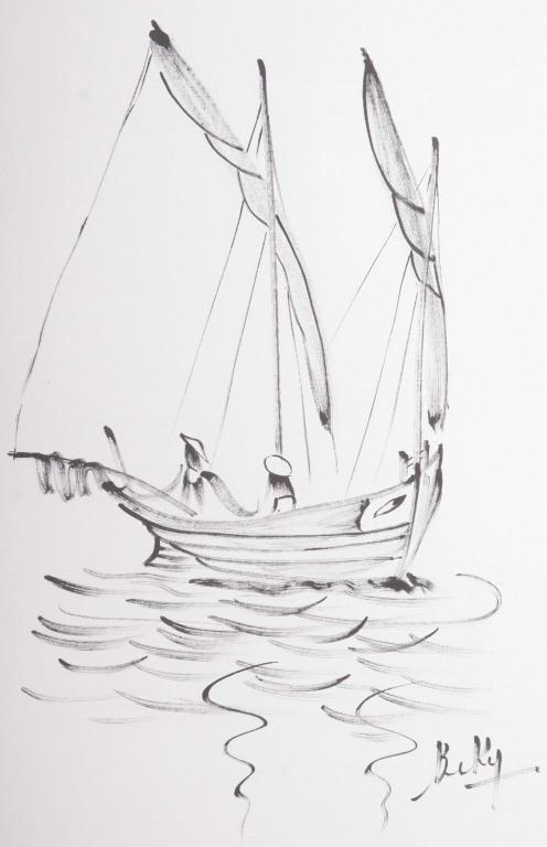 128: Pr. BeKy Ink on Silk Drawings Pair of bold black i - 3