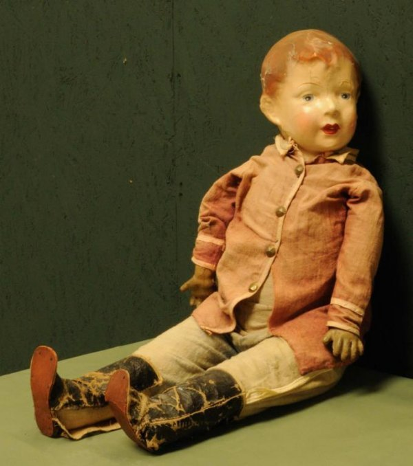 6: Early Cloth Bodied Boy Doll Painted face; original m